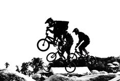 Bmx racers in the air stock image