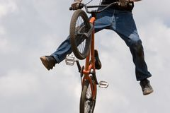 BMX Radfahrer Bord Stockfoto