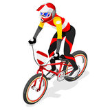 BMX-Radfahrer-Radfahrer-Athleten-Summer Games Icon-Satz Radfahrengeschwindigkeit BMX Stockfoto