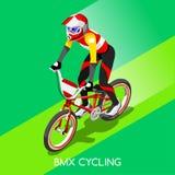 BMX-Radfahrer-Radfahrer-Athleten-Summer Games Icon-Satz Radfahrengeschwindigkeits-Konzept BMX 3D isometrisches Radrennen des Spor Stockfotografie
