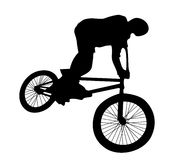 Bmx rider. Cyclist silhouette isolated on white Stock Photos