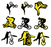 BMX rider. Black and yellow  vector silhouette of BMX rider Stock Photos
