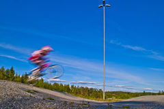 Bmx rider. Picture is shot by halden bmx bike club's path which is located in aremark, aremark is a municipality in østfold county and borders to halden Stock Photos