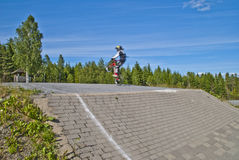 Bmx rider. Picture is shot by halden bmx bike club's path which is located in aremark, aremark is a municipality in østfold county and borders to halden Stock Image