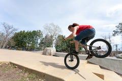 BMX Rider Doing Tricks Fotografía de archivo
