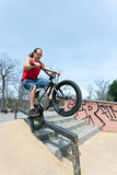 BMX Rider Grinding Stock Photos