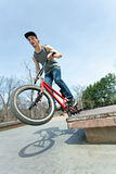 BMX Rider Grinding Stock Images