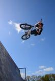 Bmx rider. Bmx half pipe rider in lymington skate park Royalty Free Stock Photo