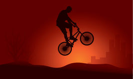 Bmx rider jump silhouette Stock Photos