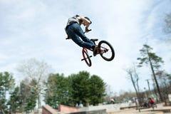 BMX Rider Jumping stockfoto