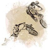 Bmx Rider Jumping On A Artistic Abstract Background. Stock Image