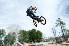 BMX Rider Jumping Stock Photo