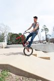 BMX Rider Jumping Stock Photography