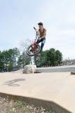 BMX Rider Jumping royalty free stock photo
