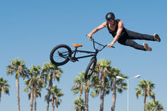 BMX rider making a bike jump during DUB Show Tour Royalty Free Stock Image
