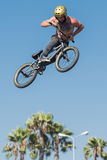 BMX rider making a bike jump during DUB Show Tour Stock Photo