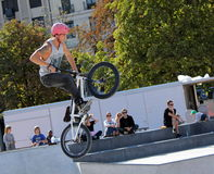BMX rider making a bike jump, Geneva, Switzerland Stock Photography