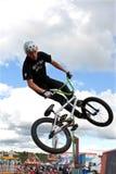 BMX Rider Performs Midair Stunt At Georgia State Fair Stock Image