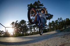 Bmx rider on a ramp Stock Photography