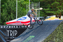 BMX rider is riding in the ramp, Palanga, Lithuania Royalty Free Stock Image