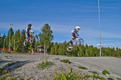 Bmx riders. Picture is shot by halden bmx bike club's path which is located in aremark, aremark is a municipality in østfold county and borders to halden Stock Image
