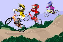 BMX riders competing in the child class Royalty Free Stock Photography