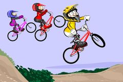 BMX riders competing in the child class Stock Photos