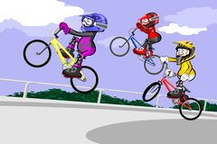 BMX riders competing in the child class Stock Images