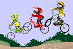 BMX riders competing in the child class Royalty Free Stock Image
