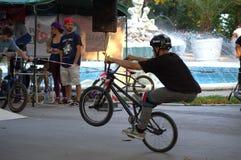 BMX riders fun in urban park Stock Photos