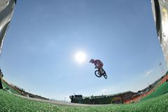 BMX. Rio de Janeiro-Brazil July 12, 2016 Race BMX competitions during the OLYMPIC Games in Rio de Janeiro royalty free stock photos