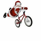 BMX Santa 3. Santa Doing Tricks on a BMX Motocross Bicycle. Isolated on a white background stock photos