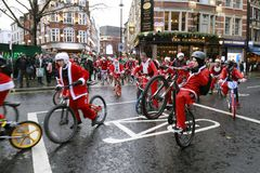 BMX Santa charity bike ride London 2017 Royalty Free Stock Image
