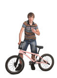 Bmx sportsman pointing with finger Royalty Free Stock Image