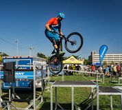 BMX Stunt Show. Roanoke, VA – October 13th: A rider performing BMX stunt at the annual GO Outside Festival at the River's Edge Park located in Roanoke Stock Image