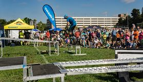 BMX Stunt Show. Roanoke, VA – October 13th: A rider performing BMX stunt at the annual GO Outside Festival at the River's Edge Park located in stock photos