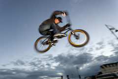 BMX stunts at the street Royalty Free Stock Photo