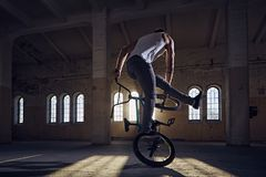 BMX stunts in a sunray indoor . BMX stunts in a sunray indoor gothic hall Royalty Free Stock Photography
