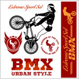 BMX t-shirt Graphics. Extreme bike street style - Vector BMX cyclyst. On white Stock Photo