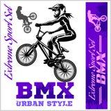 BMX t-shirt Graphics. Extreme bike street style - Vector BMX cyclyst Royalty Free Stock Photos