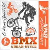 BMX t-shirt Graphics. Extreme bike street style - Vector BMX cyclyst Stock Images