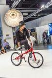 BMX world champion Takahiro Ikeda performs stunts at  Photokina Stock Photo
