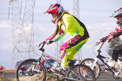 BMXer Racing in Competition Royalty Free Stock Images