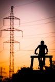 Bmxfietser bij zonsondergang Royalty-vrije Stock Foto's
