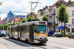 BN PCC. BRUSSELS, BELGIUM - AUGUST 9, 2014: Passenger tramway BN PCC at the city street Stock Image