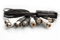 BNC ed il RCA hanno terminato i cavi coassiali isolati Fotografie Stock