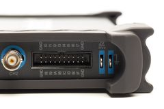 BNC input connector of digital signal oscilloscope. Close up view stock photo