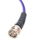 BNC jack. Close up BNC jack purple cables isolated on white background Royalty Free Stock Photo