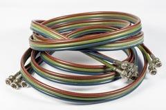 BNC-kabels voor analoge componetvideo Stock Afbeeldingen
