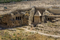 The Bnei Hazir Tomb and the Tomb of Zechariah in Jerusalem, Israel. The Bnei Hazir Tomb and the Tomb of Zechariah in Kidron Valley or King`s Valley near the Royalty Free Stock Photo